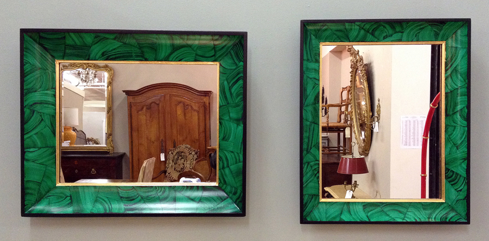 Faux Malachite Mirrors on Display