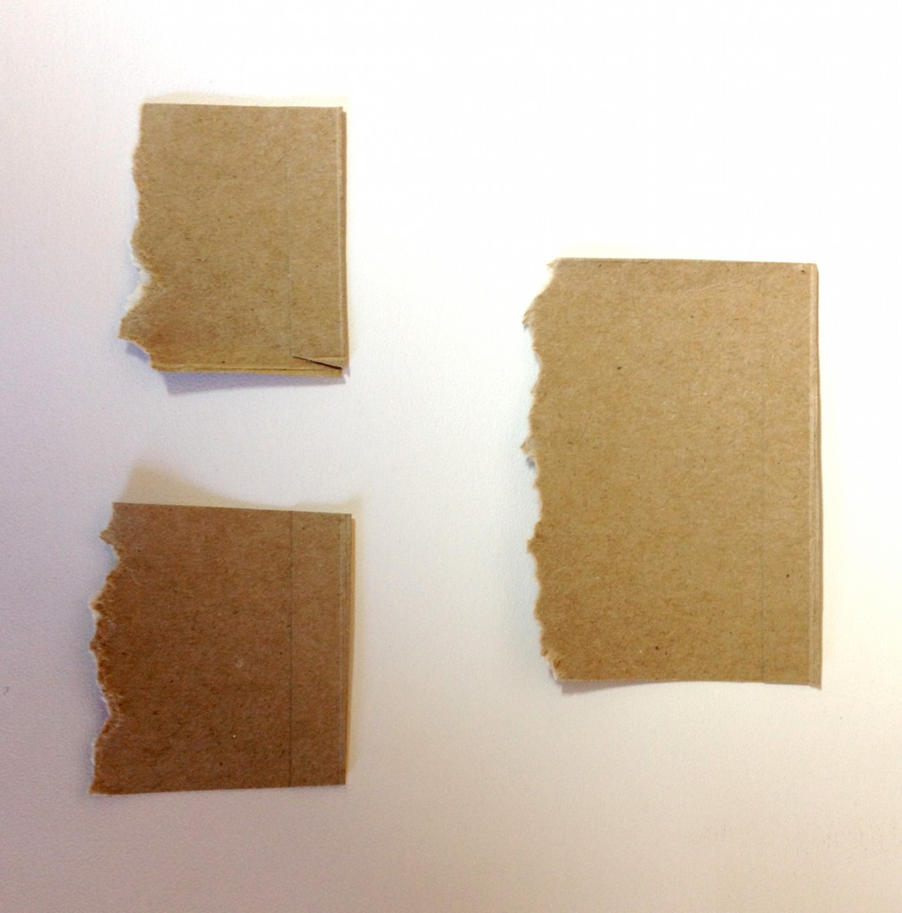 Samples of torn cardboard for mark making